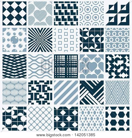 Collection of vector abstract seamless compositions symmetric ornate backgrounds