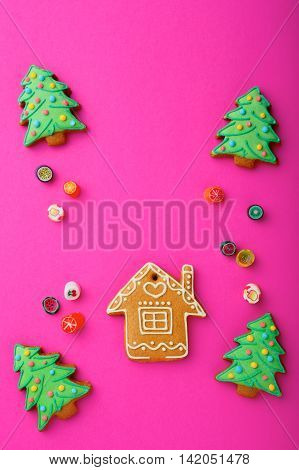 Christmas Cookies In The Shape Of House And New Year Tree, Mixed Sweet Candy