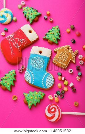 Different Christmas Cookies And Mixed Multicolored Candy