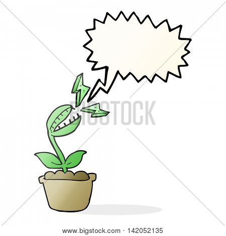 freehand drawn speech bubble cartoon venus fly trap