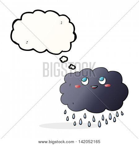 freehand drawn thought bubble cartoon raincloud