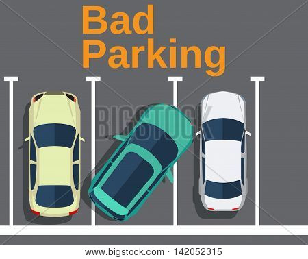 Bad parking. Cars top view. Vector illustration in flat design