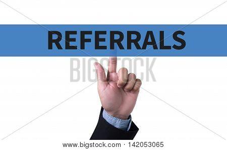 REFERRALS Business team hands at work business man work