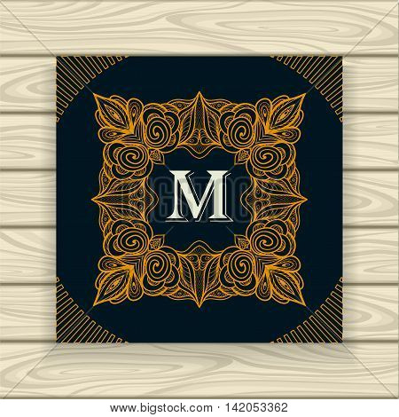 Decorative ornamental frame in vintage style gold on black  or Template  of monogram advertising cosmetic perfumer  clothes or for decorate other things