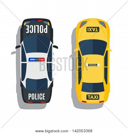 Police and taxi cars top view vector set. auto car icon illustration. Vector illustration in flat design