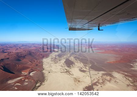 Aerial view of Sossusvlei in Namibia Africa; Concept for traveling in Africa