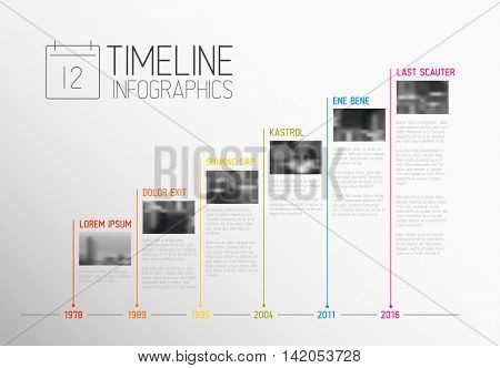 Vector colorful Infographic typographic timeline report template with the biggest milestones, photos, years and description