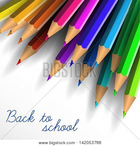 Vector School poster - colorful crayons on white background and lettering Back to school