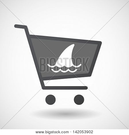 Isolated Shopping Cart Icon With A Shark Fin