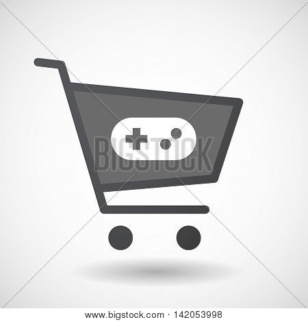 Isolated Shopping Cart Icon With A Game Pad
