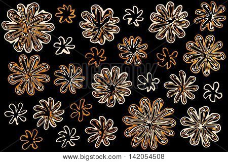 Watercolor Beige And Acryl Golden Abstract Flowers On Black Background
