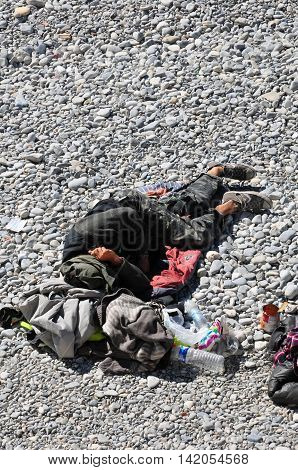 Nice France - april 19 2016 : an homeless man is slepping on the beach