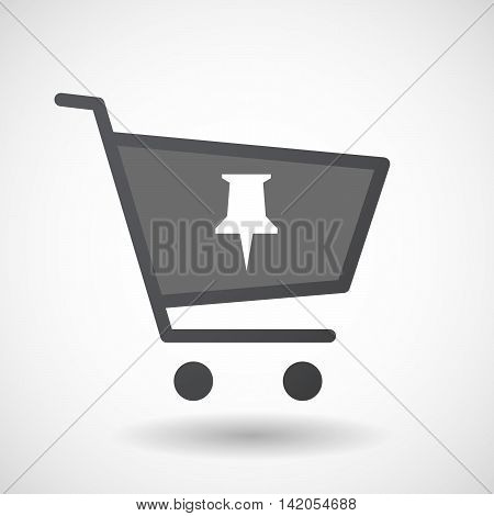 Isolated Shopping Cart Icon With A Push Pin