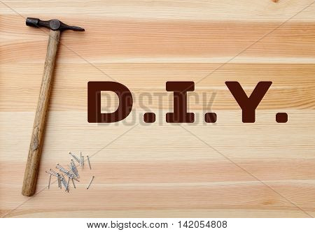 Hammer And Panel Pins - Diy Text Written On Wood