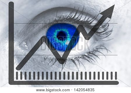 market price eye looks at viewer concept.