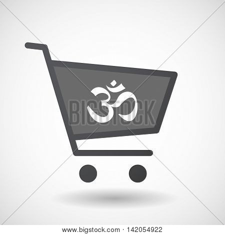 Isolated Shopping Cart Icon With An Om Sign