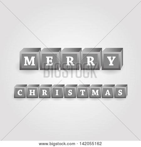 Merry Christmas Message From Grayscale Bricks With Numbers Eps10