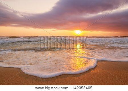Brilliant ocean beach sunrise in summer days