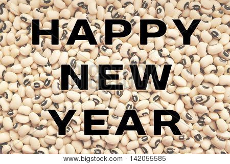 Happy New Year Text Over Black Eyed Peas