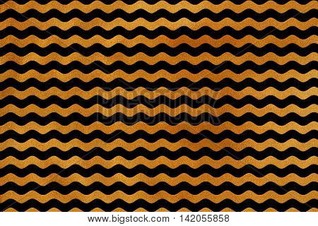 Golden Wavy Striped Background.