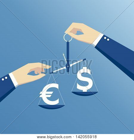 business concept exchange rate hands holding the scales and weighed the dollar and euro flat design