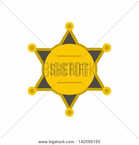 Gold star of sheriff icon in flat style on a white background