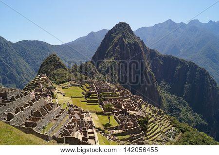 the ruins of the lost city at Machu Picchu Peru