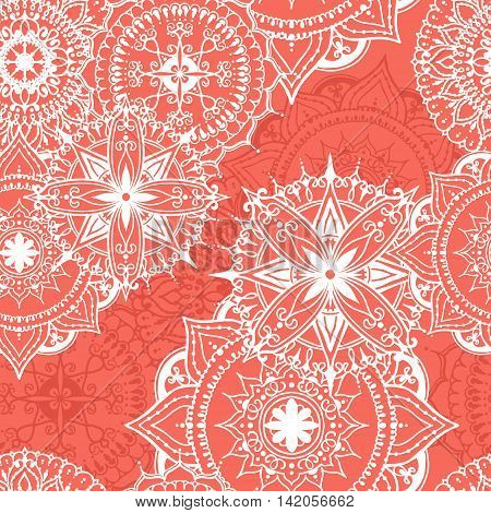 Seamless pattern with circular floral ornaments. Mandala in red colors. Floral round pattern for the greeting cards invitation template frame design for business style cards or else. Vector illustration
