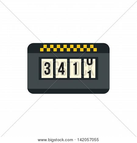 Meter taxi icon in flat style on a white background