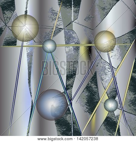 Abstract metallic background of foil with glowing balls. Silver metal background with intertwining needles