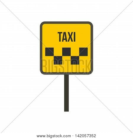 Taxi sign icon in flat style on a white background