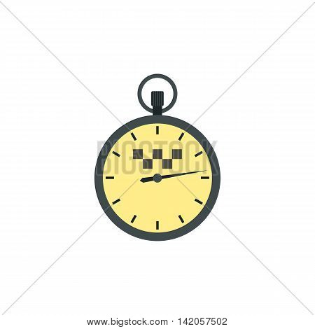 Stopwatch with taxi sign icon in flat style on a white background