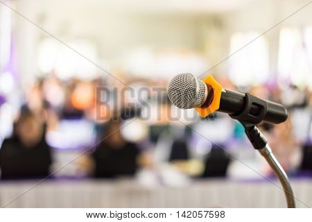 microphone in meeting room or conference room Bussiness concept soft focus