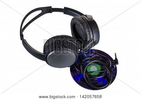 Headphones with a music CD, the whole head black color