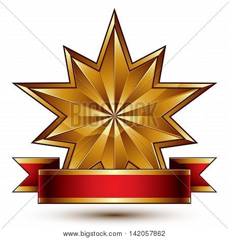 Vector glamorous polygonal 3d polished golden star with decorative red ribbon