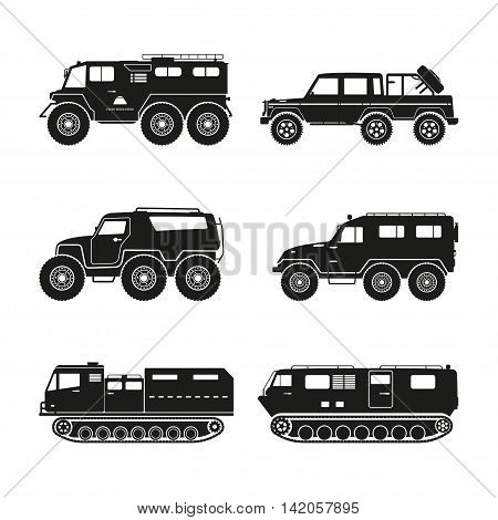 Silhouettes set of the cross-country vehicle on a white background. ATV track collection. Vector illustration