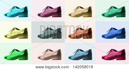 Footwear Concept. Collage of colorful men's classic leather shoes. Pastel colors. Shoes for young people.