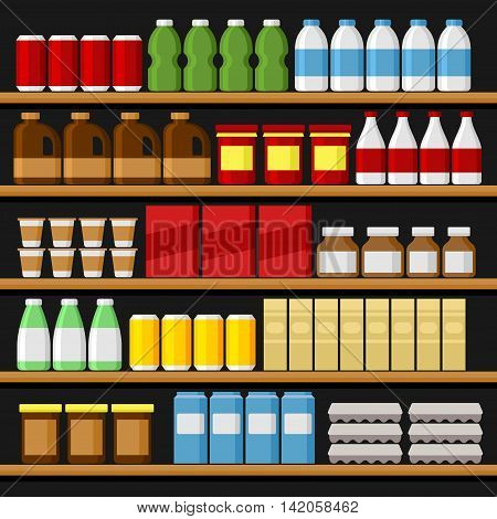 Supermarket. Shelfs Shelves with Products and Drinks. Vector illustration