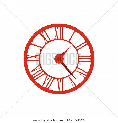 Elegant roman numeral clock icon in flat style on a white background