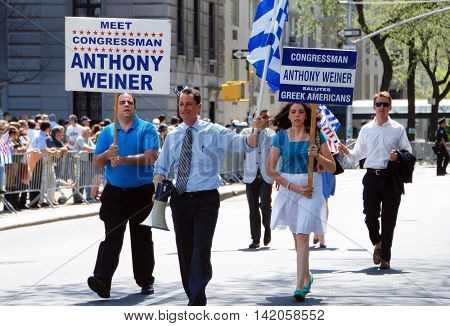 New York City - April 26 2009: Former New York Congressman Anthony Weiner marching in the annual Greek Independence Day Parade on Fifth Avenue