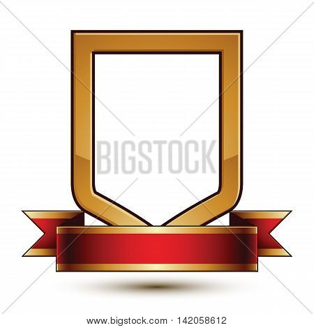 Heraldic vector template with golden outline 3d royal conceptual escutcheon with decorative curvy ribbon.