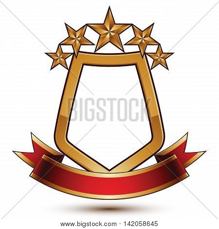 3d vector classic royal symbol sophisticated protection shield with golden stars and red wavy stripe