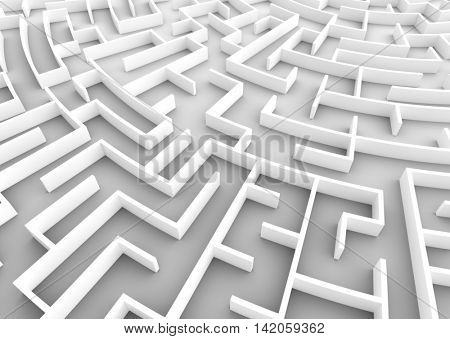 Huge maze. Concepts of problem solving, challenge, business strategy etc. 3D illustration
