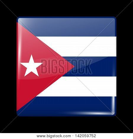 Flag Of Cuba. Glossy Icon Square Shape