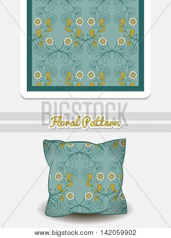 Hand drawn pillow with seamless pattern made from hand drawn flowers. Vector illustration. Can be used for textile.