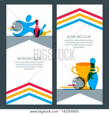 Set Of Bowling Banner Backgrounds, Poster, Flyer Or Label Design Elements.
