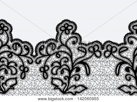 Seamless horizontal lace ribbon with flowers. Black lace on a light background. Vector illustration.
