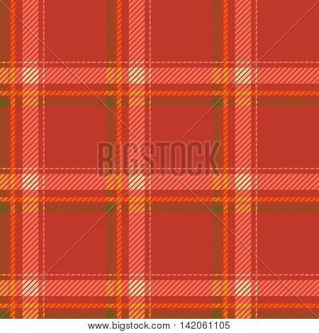 Seamless tartan pattern fabric. Cells green yellow and white on a red background. Vector illustration.