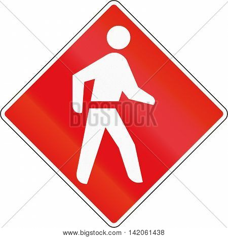 Road Sign Used In The African Country Of Botswana - Pedestrian Priority Zone