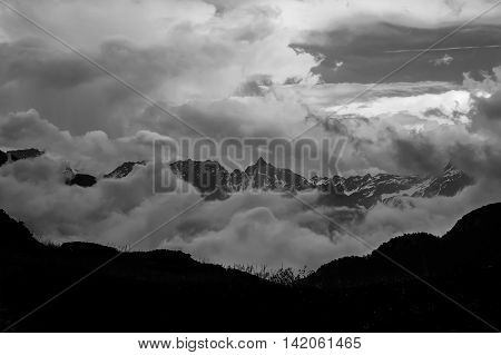 Mountain Landscape In Black And White Contrasted Dramatically Surreal And Abstract